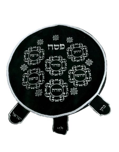 Couvre Matzot brodé bleublanc pour Seder de Pessah