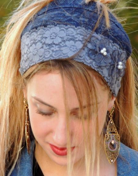 Foulard-headband façon jean