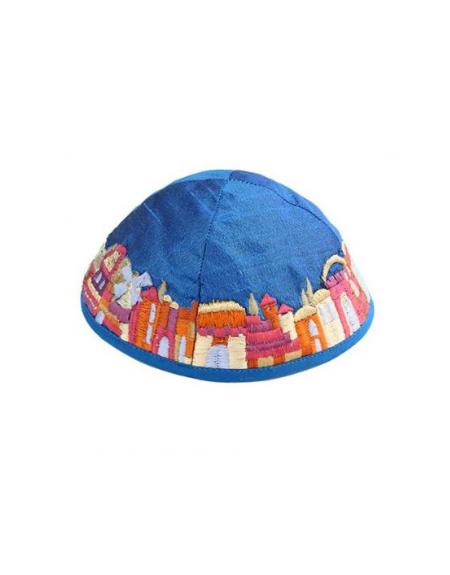 Kippa Yair Emanuel Broderies Veille Ville Jérusalem Bleue
