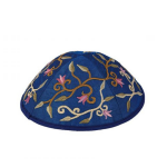 Kippa Yair Emanuel Fleurs brodées (bleue)