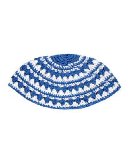 Kippa crochetée bleu blanc