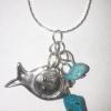 Pendentif kabbalistique avec pierre turquoise pour accouchement facile