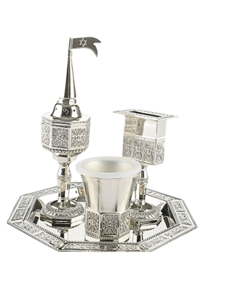 Set Havdalah verre kiddouch-bougeoir-besamim