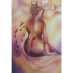 Tableau artiste israélien Ani Kinor- Femme violon Jérusalem