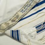 Talith Gadol rayures bleues et dorées